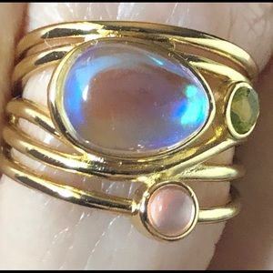 Jewelry - Labradorite & Moonstone 14k Ring/ Sterling